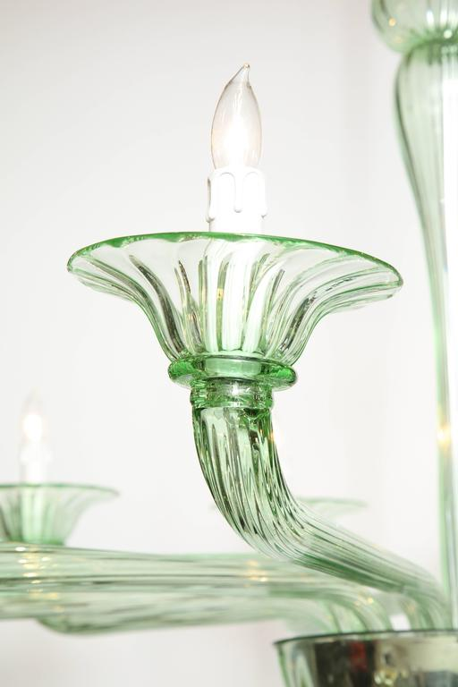 Hand-Crafted Rare Green Murano Glass Chandelier in the Manner of Venini, Italy, 2019 For Sale