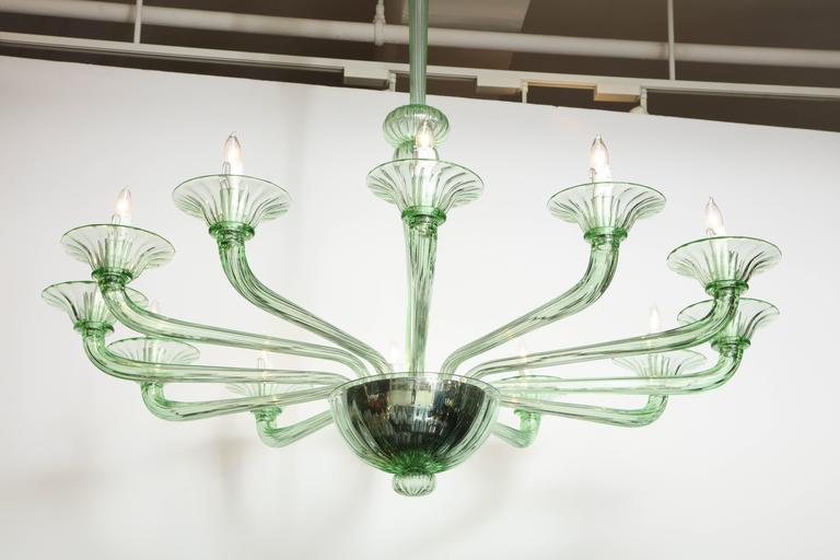 Rare Green Murano Glass Chandelier in the Manner of Venini, Italy, 2019 For Sale 1