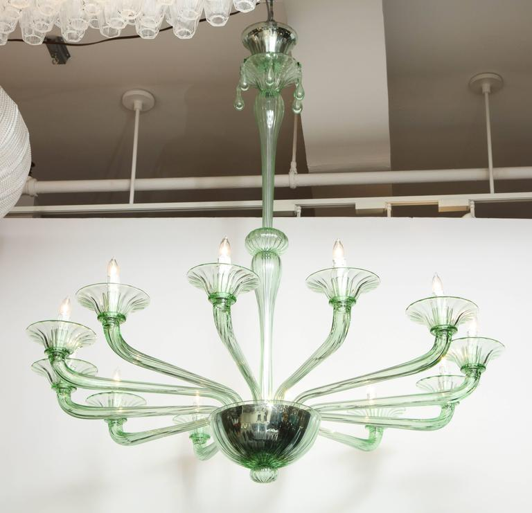 Rare Mid-Century Green Murano Glass Chandelier in the Manner of Venini 8