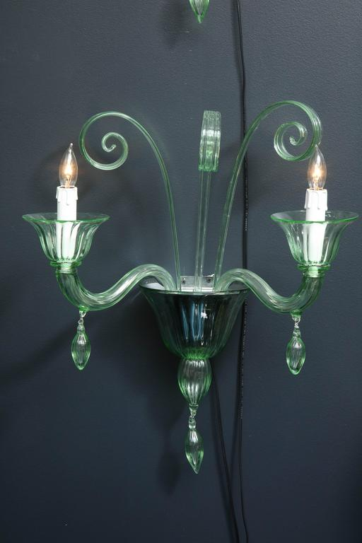 Italian Pair of Mid-Century Green Murano Glass Sconces in the Manner of Venini For Sale