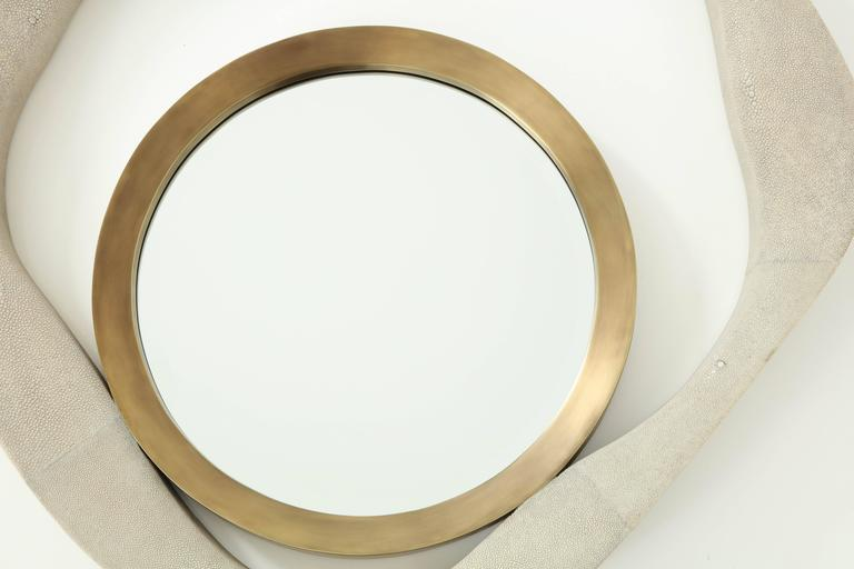 Art Deco Shagreen and Bronze Mirror For Sale