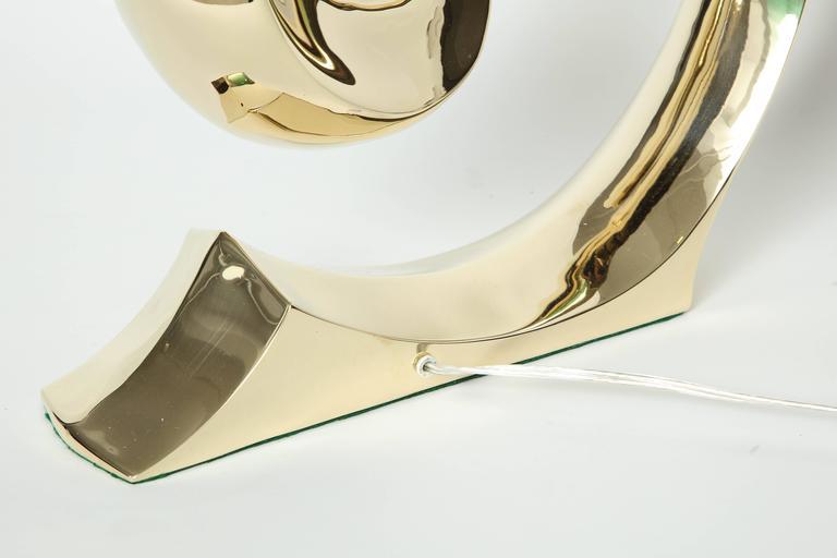 Polished Erwin Lambeth, Cardin Logo Brass Lamps For Sale