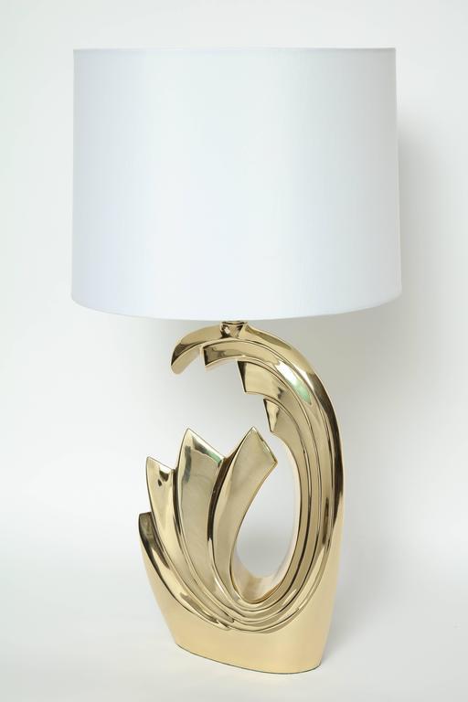"""Modern Pierre Cardin Brass """"Wave"""" Lamps For Sale"""