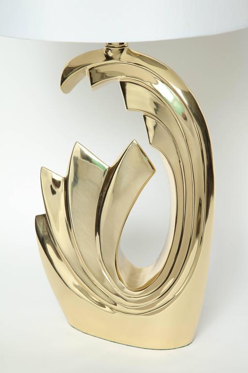 "American Pierre Cardin Brass ""Wave"" Lamps For Sale"