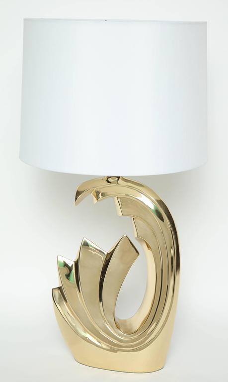 """Pierre Cardin Brass """"Wave"""" Lamps For Sale 1"""