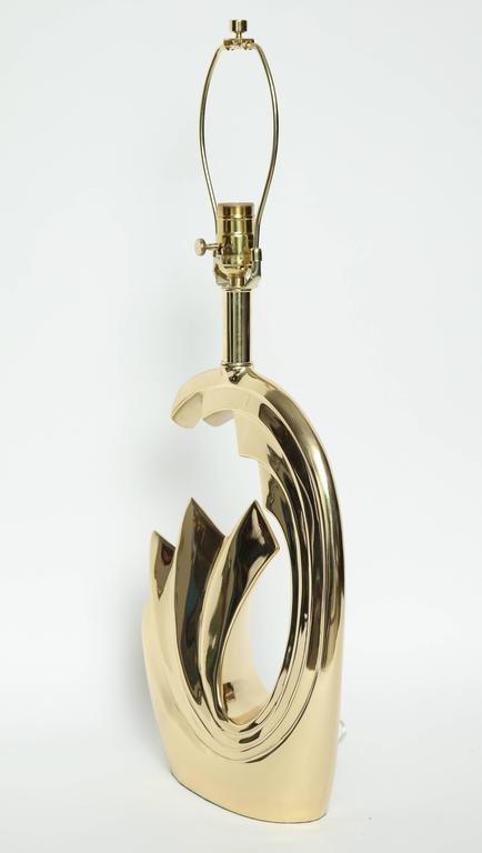 """Pierre Cardin Brass """"Wave"""" Lamps For Sale 2"""