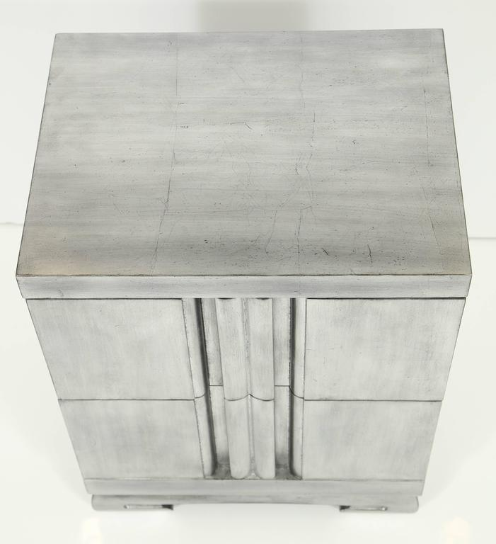 James Mont Influenced Silver Leaf Nightstands For Sale at 1stdibs