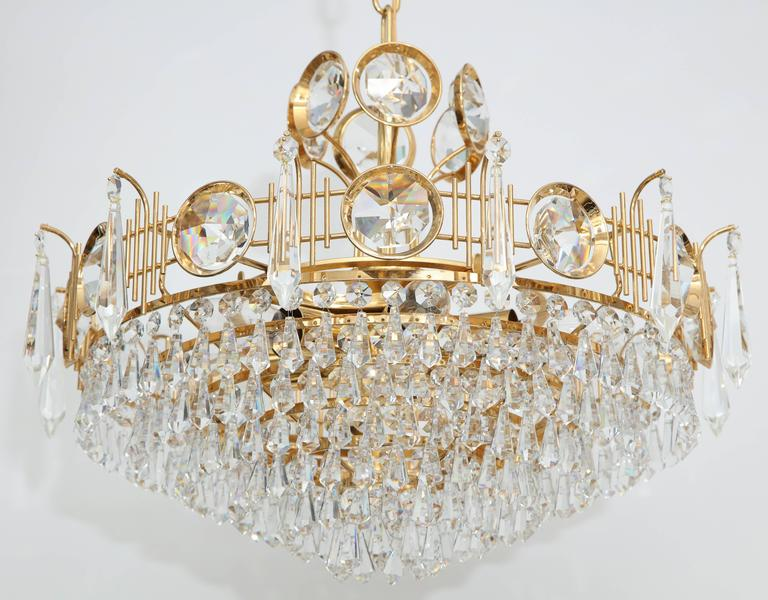 Jl lobmeyr austrian crystal chandelier for sale at 1stdibs stunning multi tiered crystal tear drop chandelier with faceted crystal discs on a 22 karat mozeypictures Images