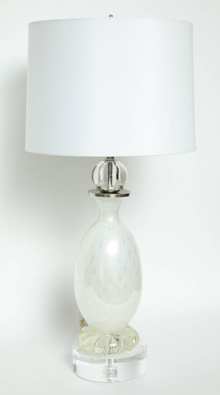 Seguso Pearl White Murano Glass Lamps 4