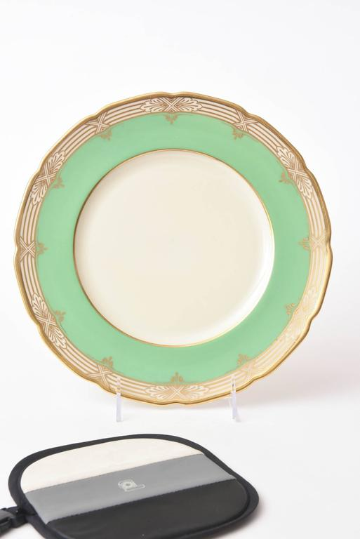 A perfect shade of green and gilt dinner plates to mix and match in for your & 12 Pretty Green and Gold Dinner Plates Antique at 1stdibs