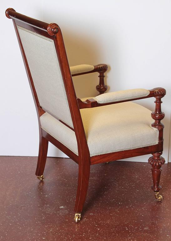 Hand-Carved Louis Philippe Upholstered Mahogany Fauteuil, Mid-19th Century For Sale