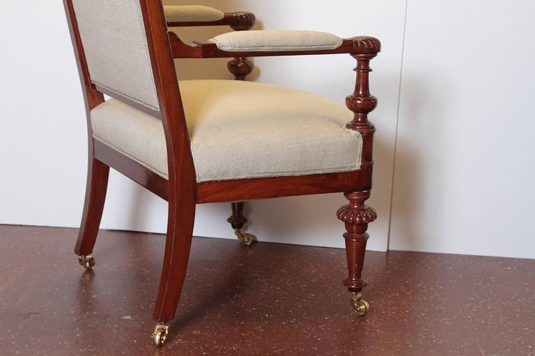 Louis Philippe Upholstered Mahogany Fauteuil, Mid-19th Century In Good Condition For Sale In Dallas, TX
