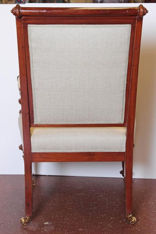 Brass Louis Philippe Upholstered Mahogany Fauteuil, Mid-19th Century For Sale