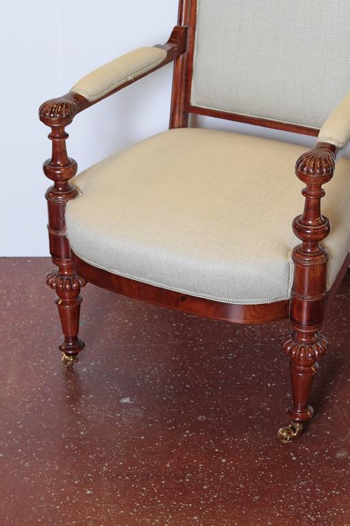 Louis Philippe Upholstered Mahogany Fauteuil, Mid-19th Century For Sale 1