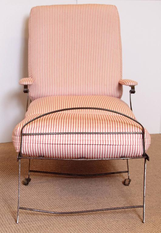 Metal French Campaign Chair With Red Ticking Cushions And