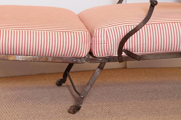 Metal French Campaign Chair with Red Ticking Cushions and Wooden ...
