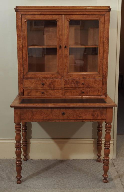 Antique French Louis Philippe burled elm writing table or secretaire.