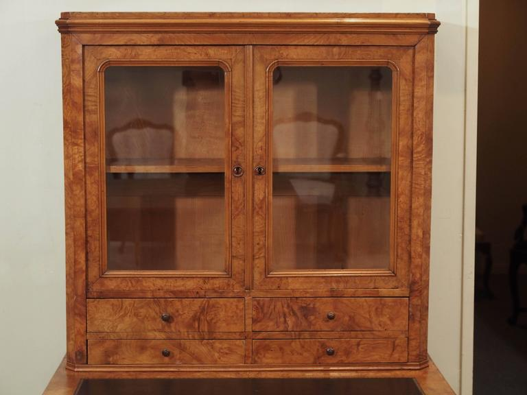 Antique French Louis Philippe Burled Elm Writing Table or Secretaire In Good Condition For Sale In New Orleans, LA