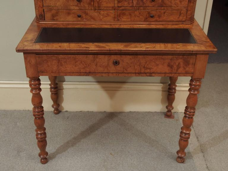 Antique French Louis Philippe Burled Elm Writing Table or Secretaire For Sale 1