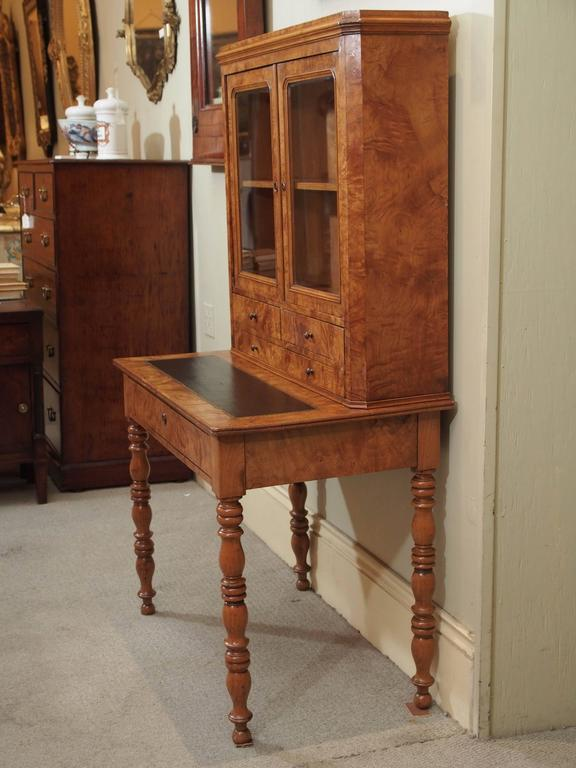 Antique French Louis Philippe Burled Elm Writing Table or Secretaire For Sale 5