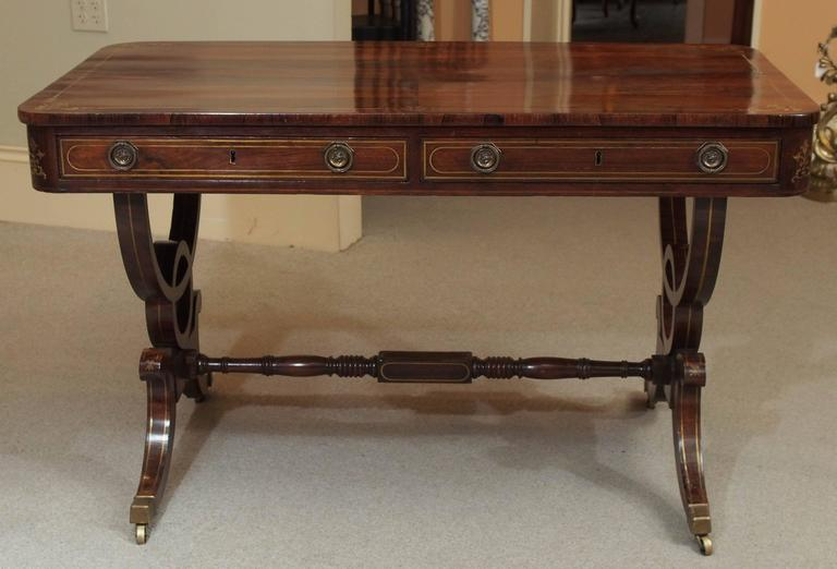 Antique English Regency Rosewood Writing Table, Saber Legs, Brass Inlay 2