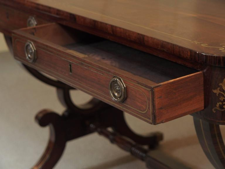 Antique English Regency Rosewood Writing Table, Saber Legs, Brass Inlay 6