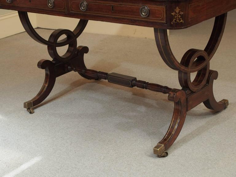 Antique English Regency Rosewood Writing Table, Saber Legs, Brass Inlay 7