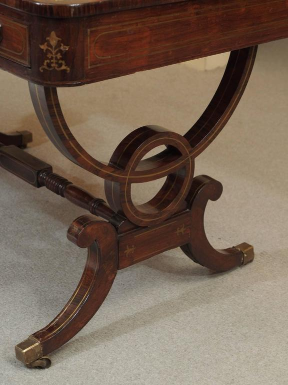 Antique English Regency Rosewood Writing Table, Saber Legs, Brass Inlay 8