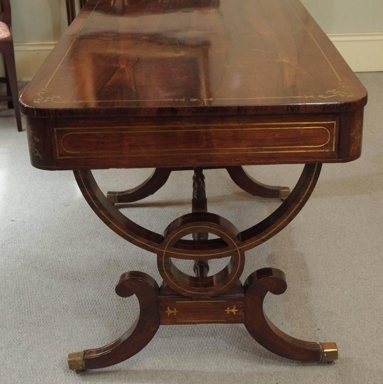 Antique English Regency Rosewood Writing Table, Saber Legs, Brass Inlay 9
