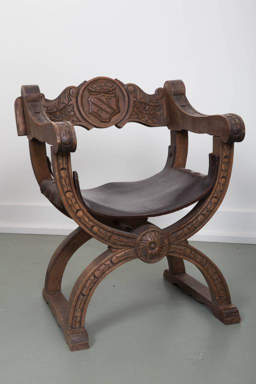 Pair Of Navarro Argundo Leather And Wood Frame Chairs For