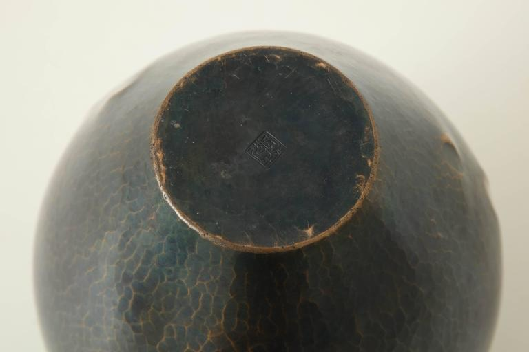 Japanese Art Deco Hammered Copper Vase 9