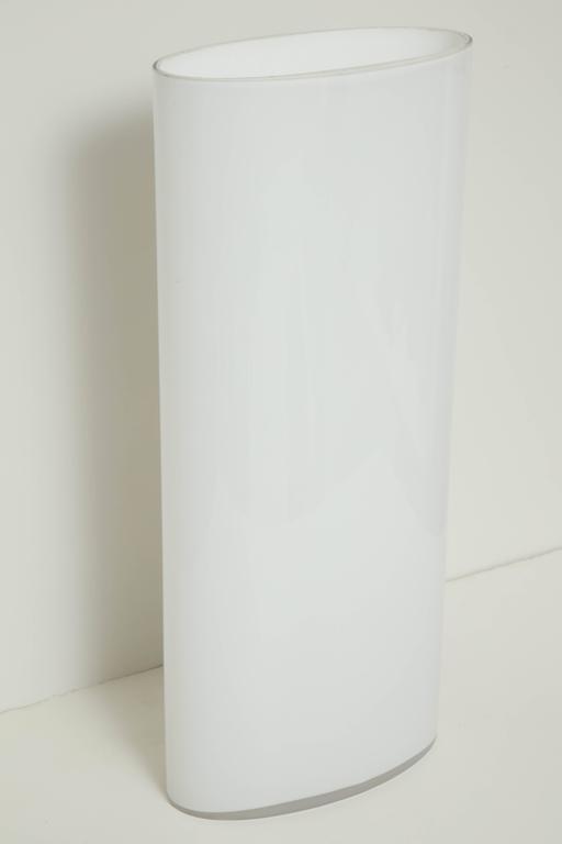 White Glass Narrow Oval Umbrella Stand 4
