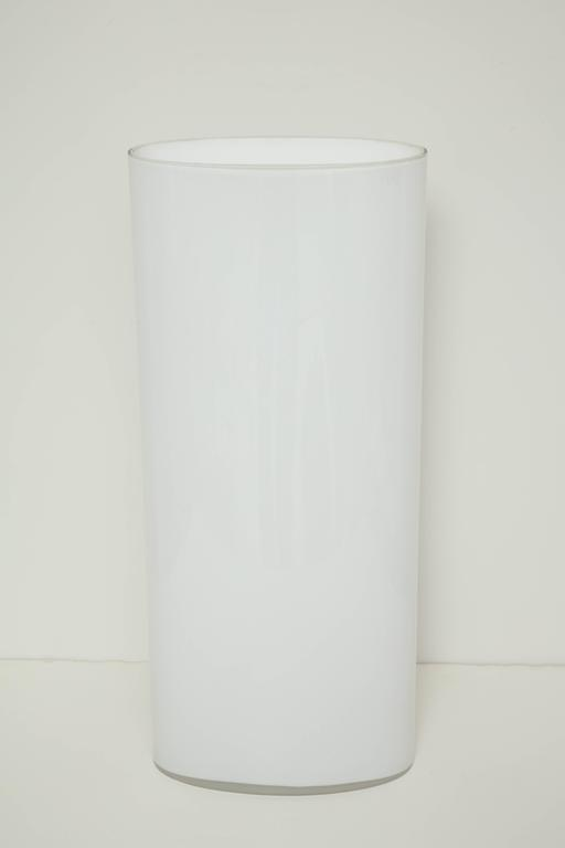 White Glass Narrow Oval Umbrella Stand 2