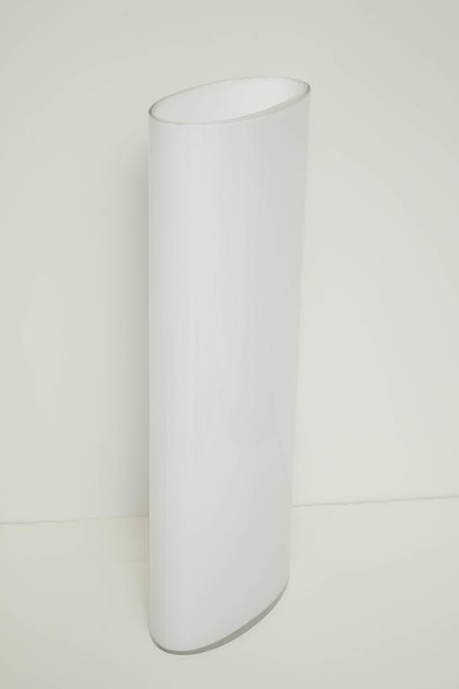White Glass Narrow Oval Umbrella Stand 5