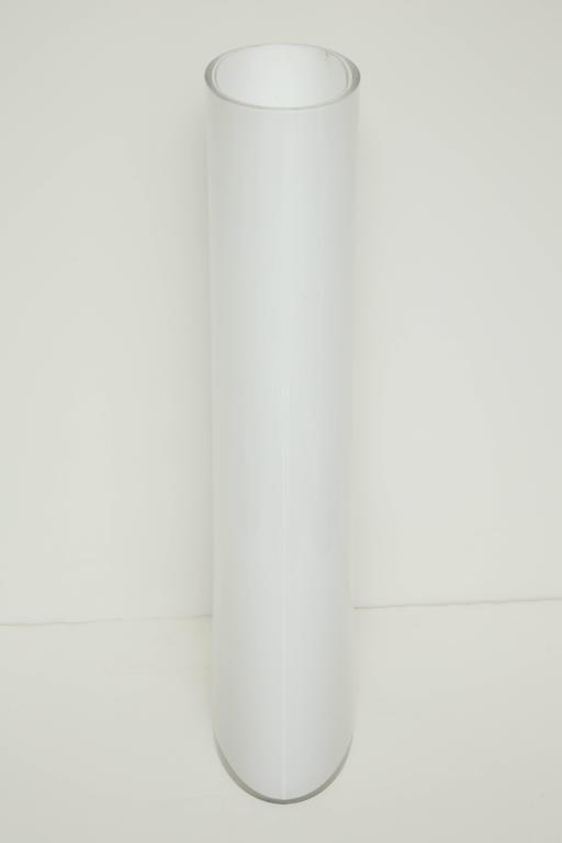 White Glass Narrow Oval Umbrella Stand 6