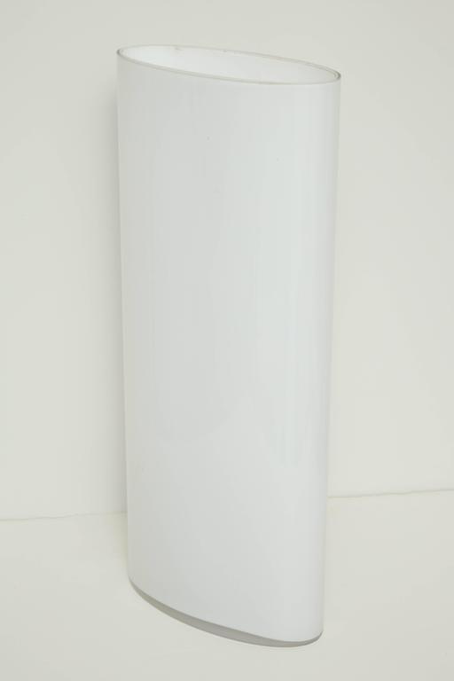 White Glass Narrow Oval Umbrella Stand 7