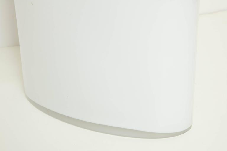White Glass Narrow Oval Umbrella Stand 8