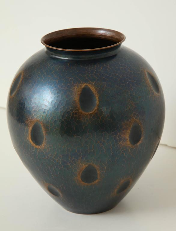 Japanese Art Deco Hammered Copper Vase 3
