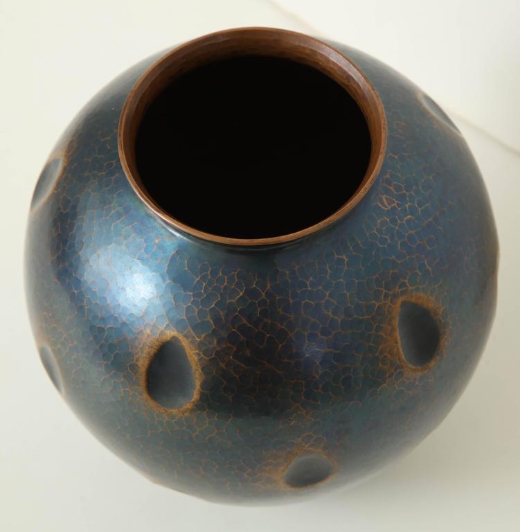 Japanese Art Deco Hammered Copper Vase 7