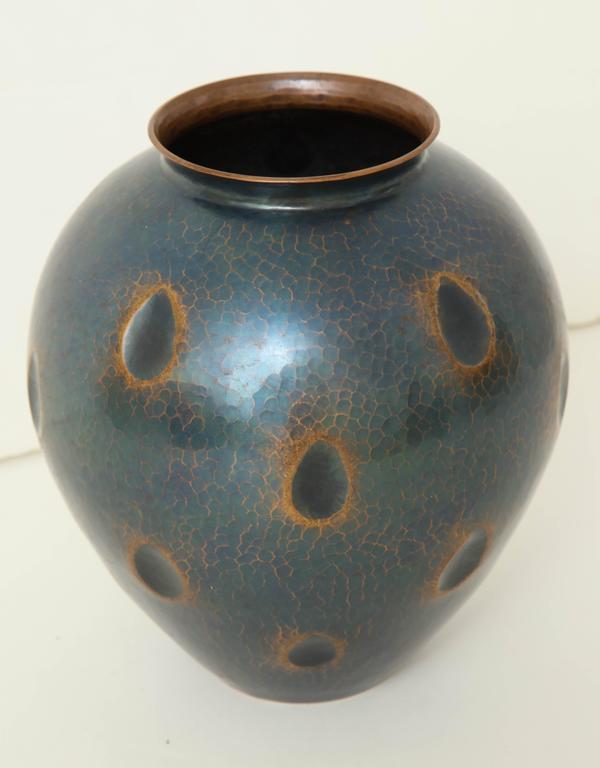 Japanese Art Deco Hammered Copper Vase 9