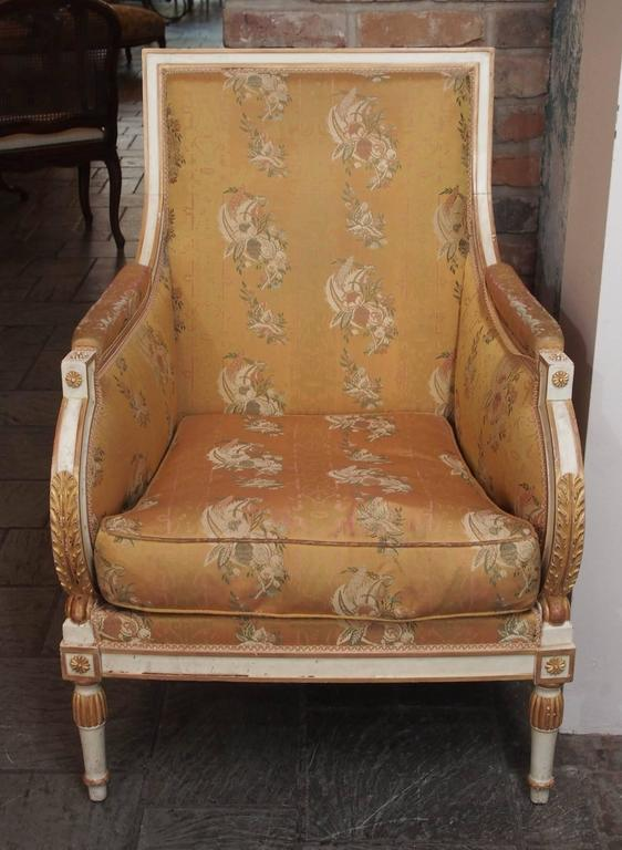 French Painted Upholstered Louis XVI Style Chair, circa 1920 2