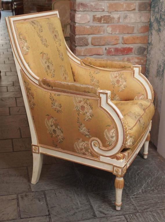 French Painted Upholstered Louis XVI Style Chair, circa 1920 5