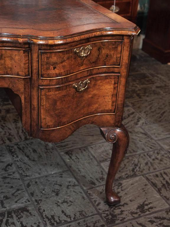 Antique English Walnut, Leather Top Desk Cabriole Legs, circa 1860 For Sale 1