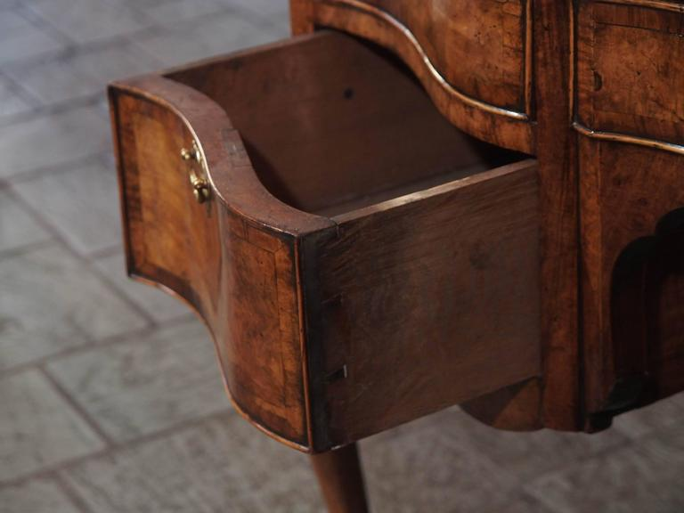 Antique English Walnut, Leather Top Desk Cabriole Legs, circa 1860 For Sale 3