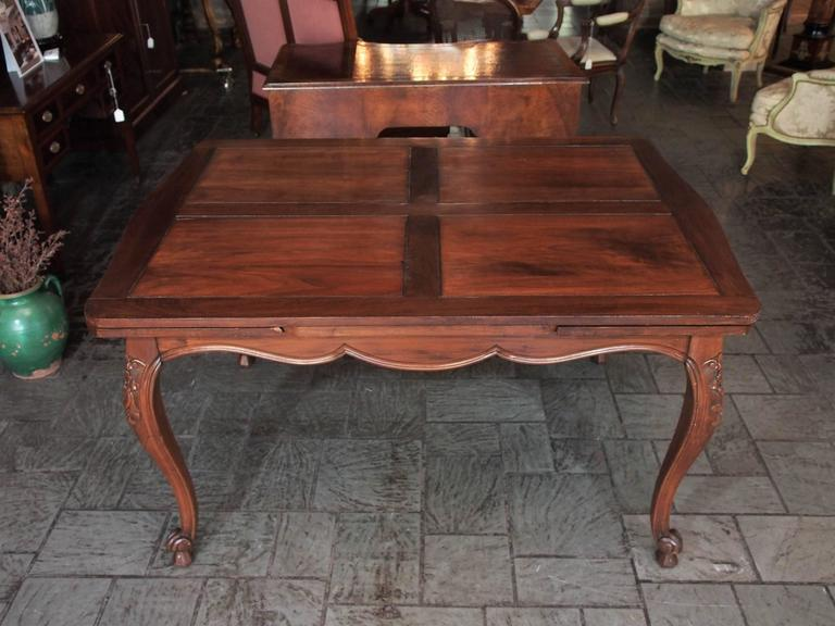 Antique French Country Draw-Leaf Table Fruitwood and Mahogany 5