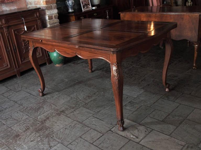 Antique French Country Draw-Leaf Table Fruitwood and Mahogany 7