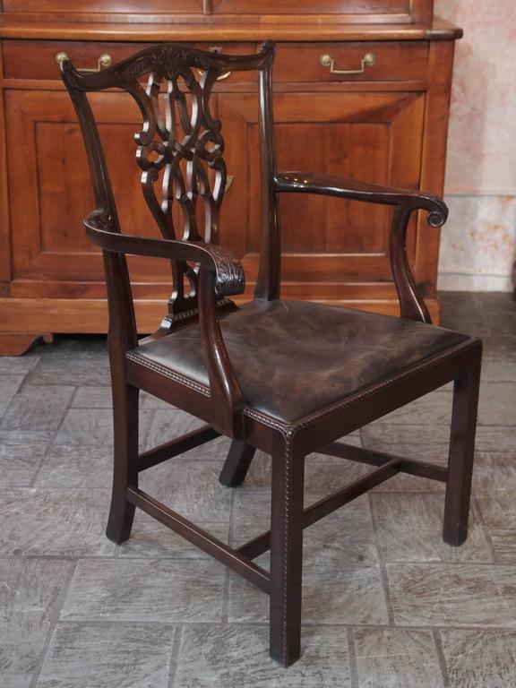 Set of Eight Antique English Georgian Mahogany Dining Chairs 3