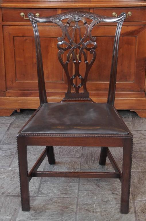 Set of Eight Antique English Georgian Mahogany Dining Chairs 6