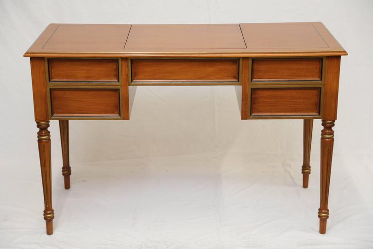 French Provincial Julia Gray Maple Desk or Dressing Table For Sale