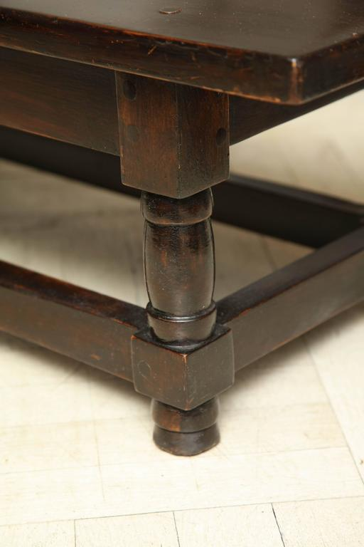 Late 19th Century Mahogany Bench, Turned Legs with Cross Stretcher In Good Condition For Sale In New York, NY